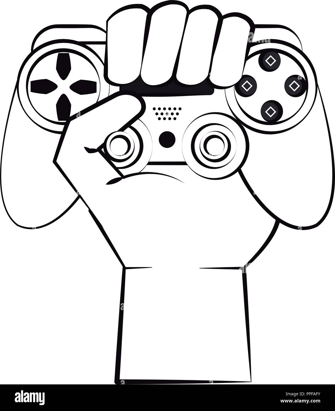 Hand Holding Video Game Controller Stock Vector Images Alamy