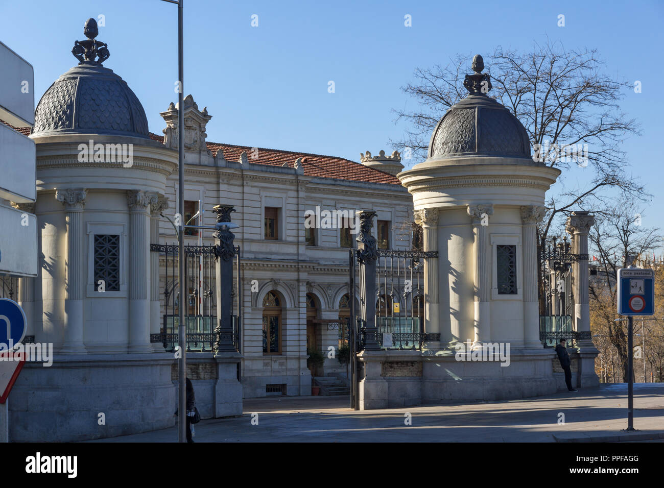 MADRID, SPAIN - JANUARY 22, 2018:  Building of Ministry of agriculture in City of Madrid, Spain Stock Photo