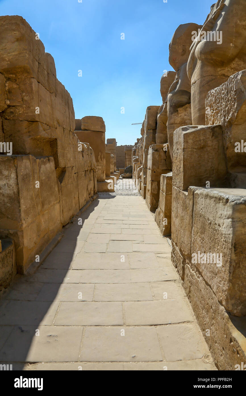 The Karnak Temple Complex, also known as The Temple of Karnak, in Thebes, Luxor, Egypt - Stock Image