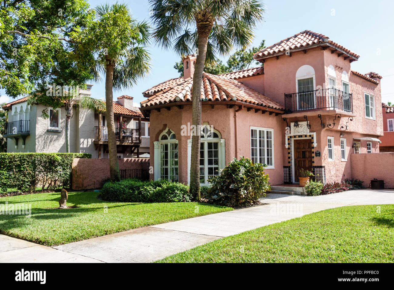 West Palm Beach Florida Old Northwood Historic District houses homes residences - Stock Image