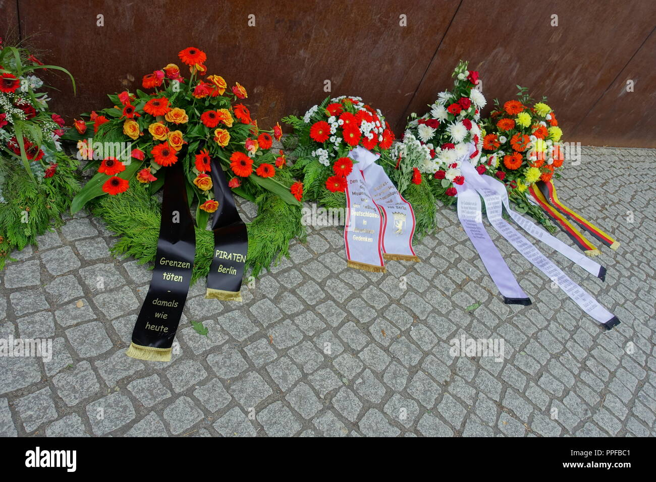 Berliner Mauer, Gedenken an die Maueropfer am 13.8.2018 - Berlin Wall, Commemoration for the Victims of the Berlin Wall on August 13, 2018 - Stock Image