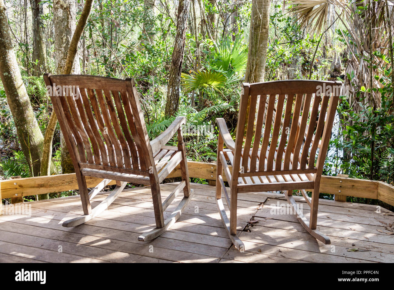 Grassy Waters Nature Preserve wetlands ecosystem rocking chair chairs - Stock Image