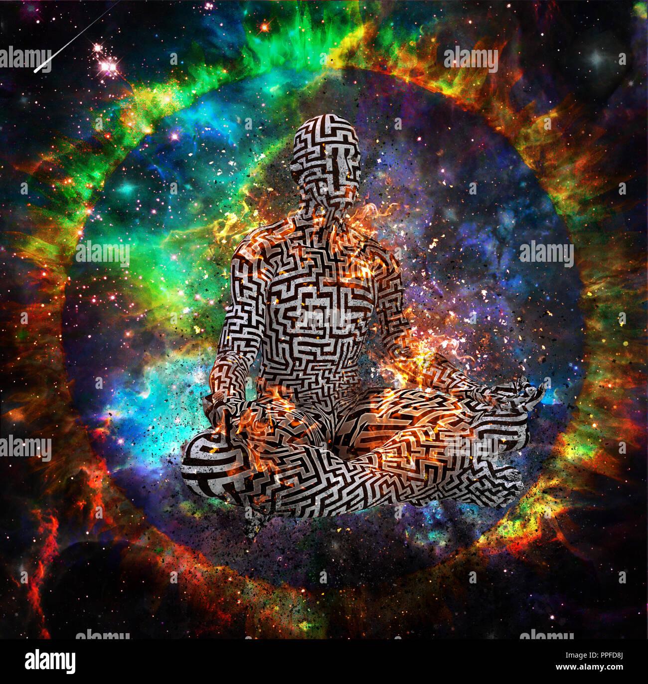 Burning Man in puzzle pattern meditates in vivid space - Stock Image