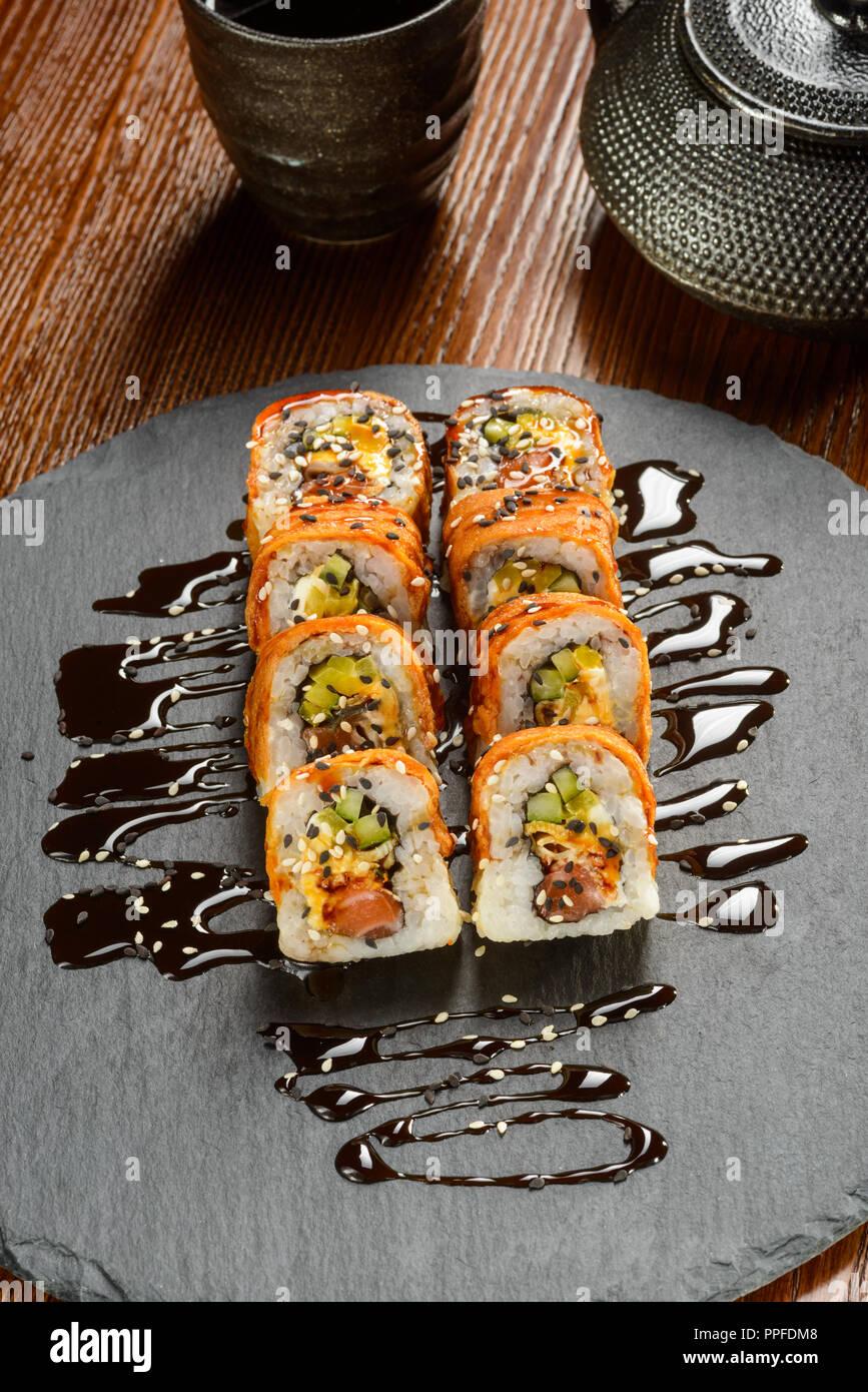 Tofu and smoked salmon rolls - Stock Image