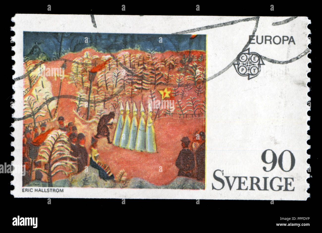 Postmarked stamp from Sweden in the Europa (C.E.P.T.) 1975 - Paintings  series - Stock Image
