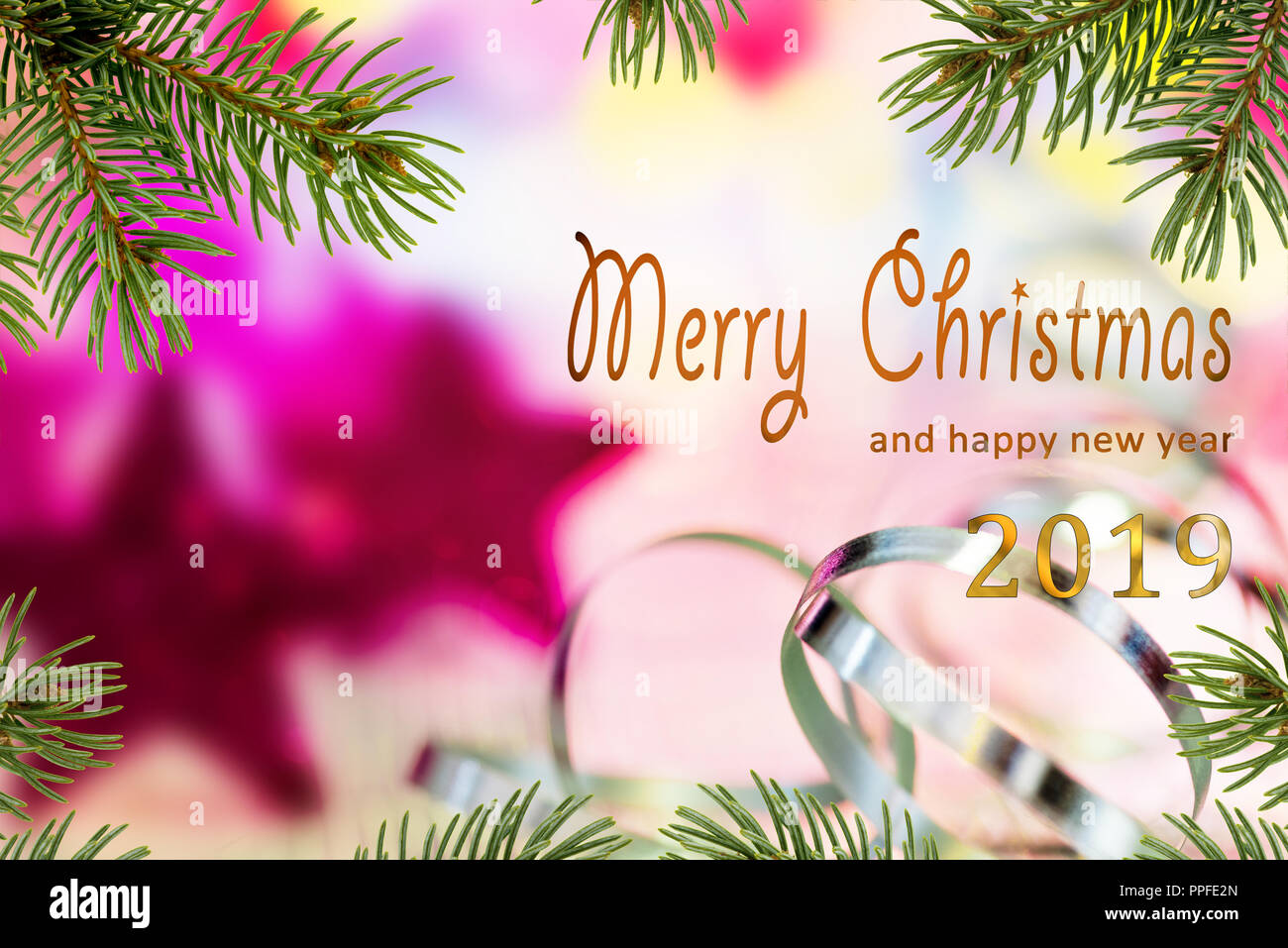 Christmas background with Merry Christmas and happy new year 2019 ...