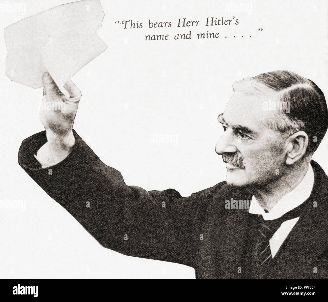 Neville Chamberlain holds the paper signed by both Hitler and himself on his return from Munich to Heston Aerodrome, after their meeting in September 1938.  Arthur Neville Chamberlain, 1869 – 1940. British Conservative Party statesman and Prime Minister of the United Kingdom.  From These Tremendous Years, published 1938. - Stock Image