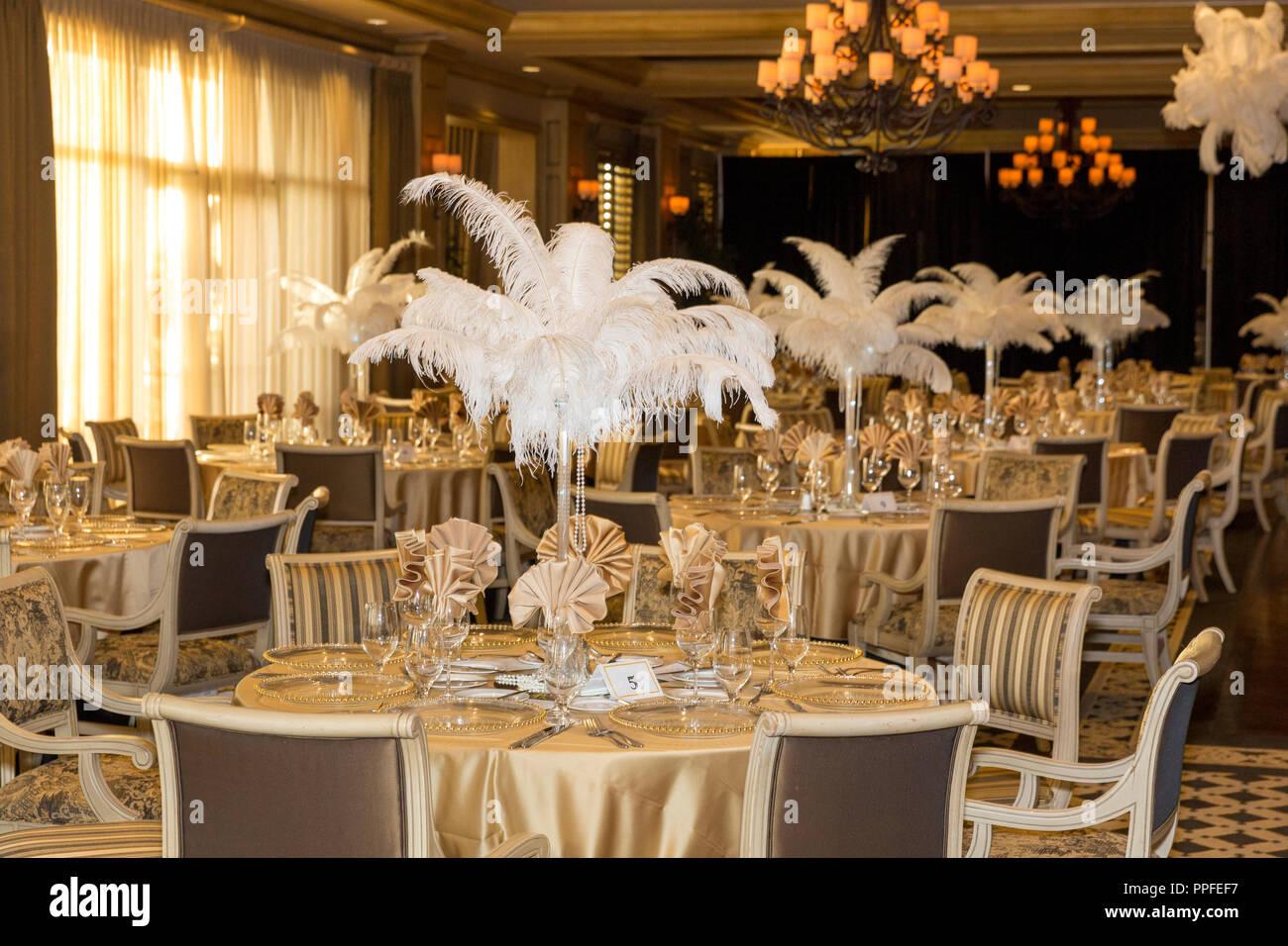 'The Great Gatsby' themed party decor, Naples, Florida, USA Stock Photo