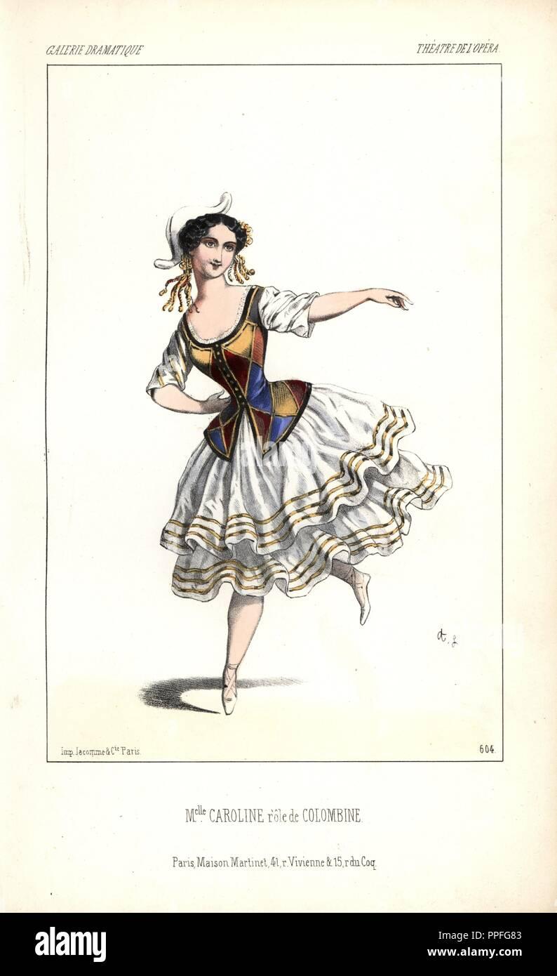 Mlle. Caroline Lassiat in the role of 'Colombine' at the Theatre de l'Opera. . Handcoloured lithograph by Alexandre Lacauchie from 'Galerie Dramatique: Costumes des Theatres de Paris' 1860. - Stock Image