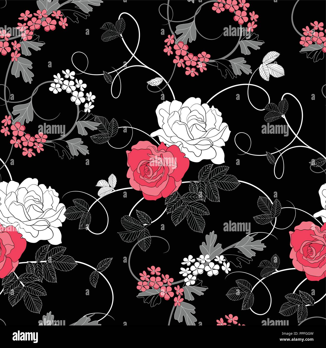Flowers Leaves Rose Buds Seamless Pattern Red Pink Cute Luxury Stock