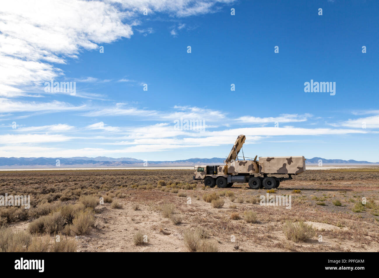 Russian built 30N6E, NATO designation Flap Lid B, tracking and missile guidance radar sits in the Nevada desert. - Stock Image