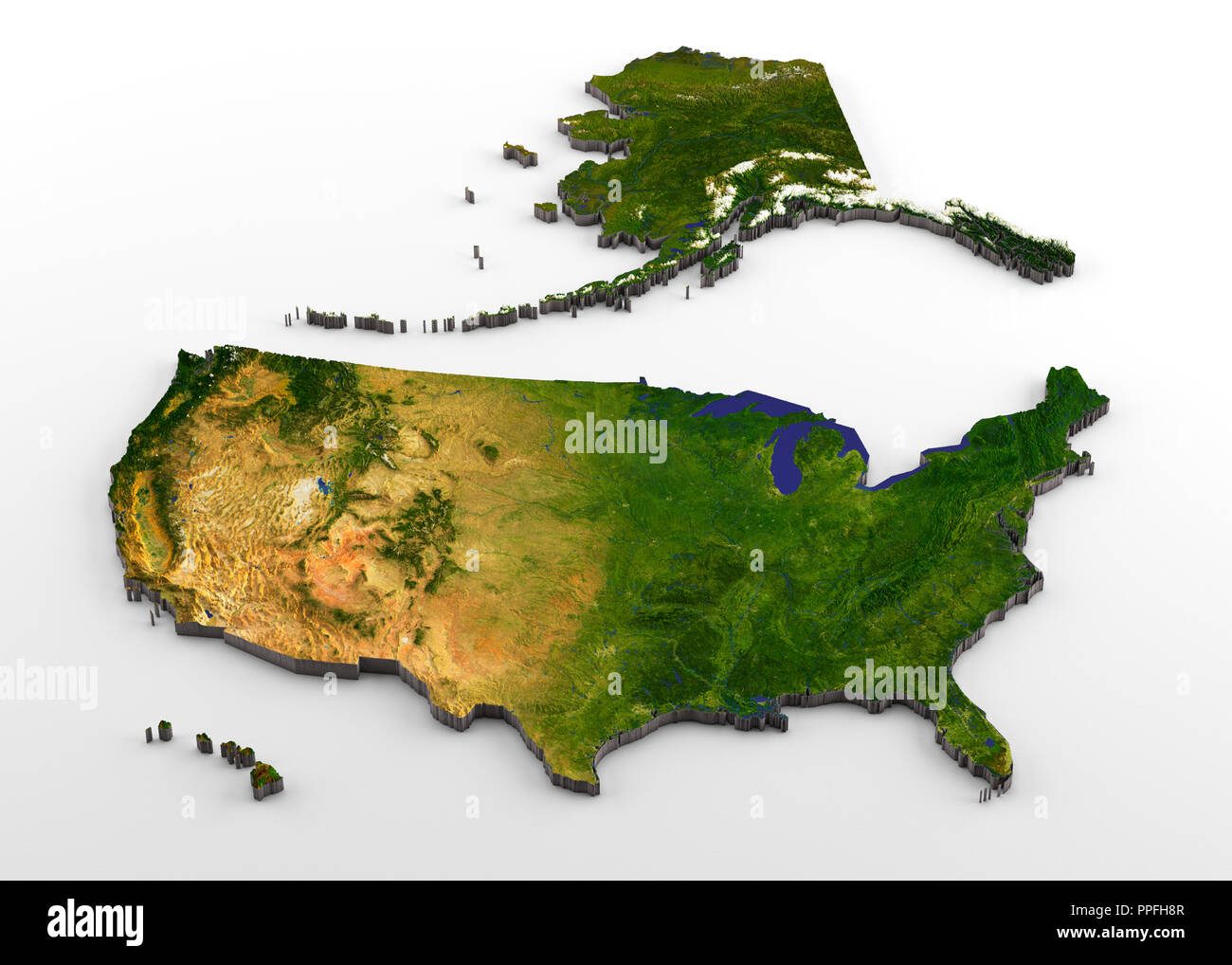 3D rendering of extruded high-resolution physical map (with relief ...