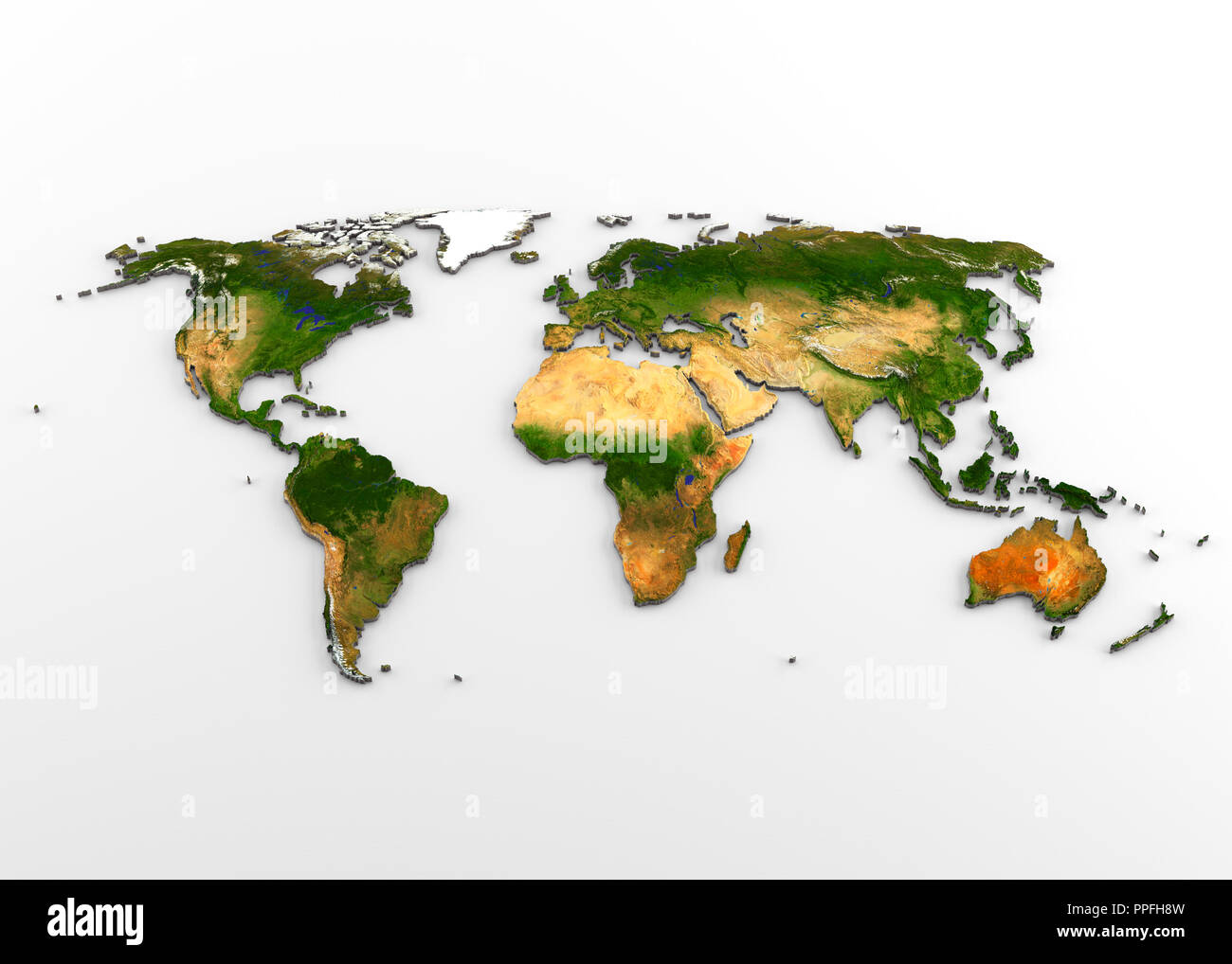 3D rendering of extruded high-resolution physical map (with relief) of the World, isolated on white background. - Stock Image