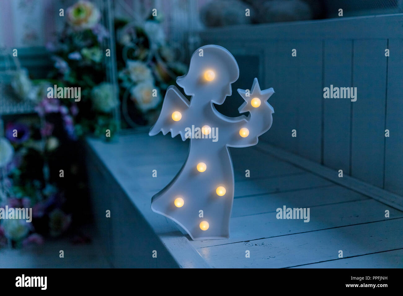 Photo Of Nightlight In The Shape Of Angel In The Childrens Room