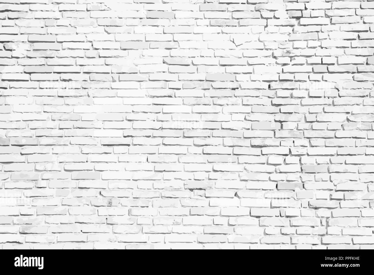 Simple White And Grey Brick Wall As Seamless Surface Pattern Texture Background Vector Illustration