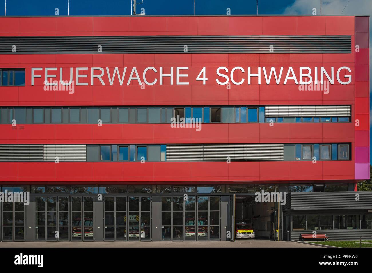 Fire Station 4, Schwabing, Munich, Upper Bavaria, Bavaria, Germany - Stock Image