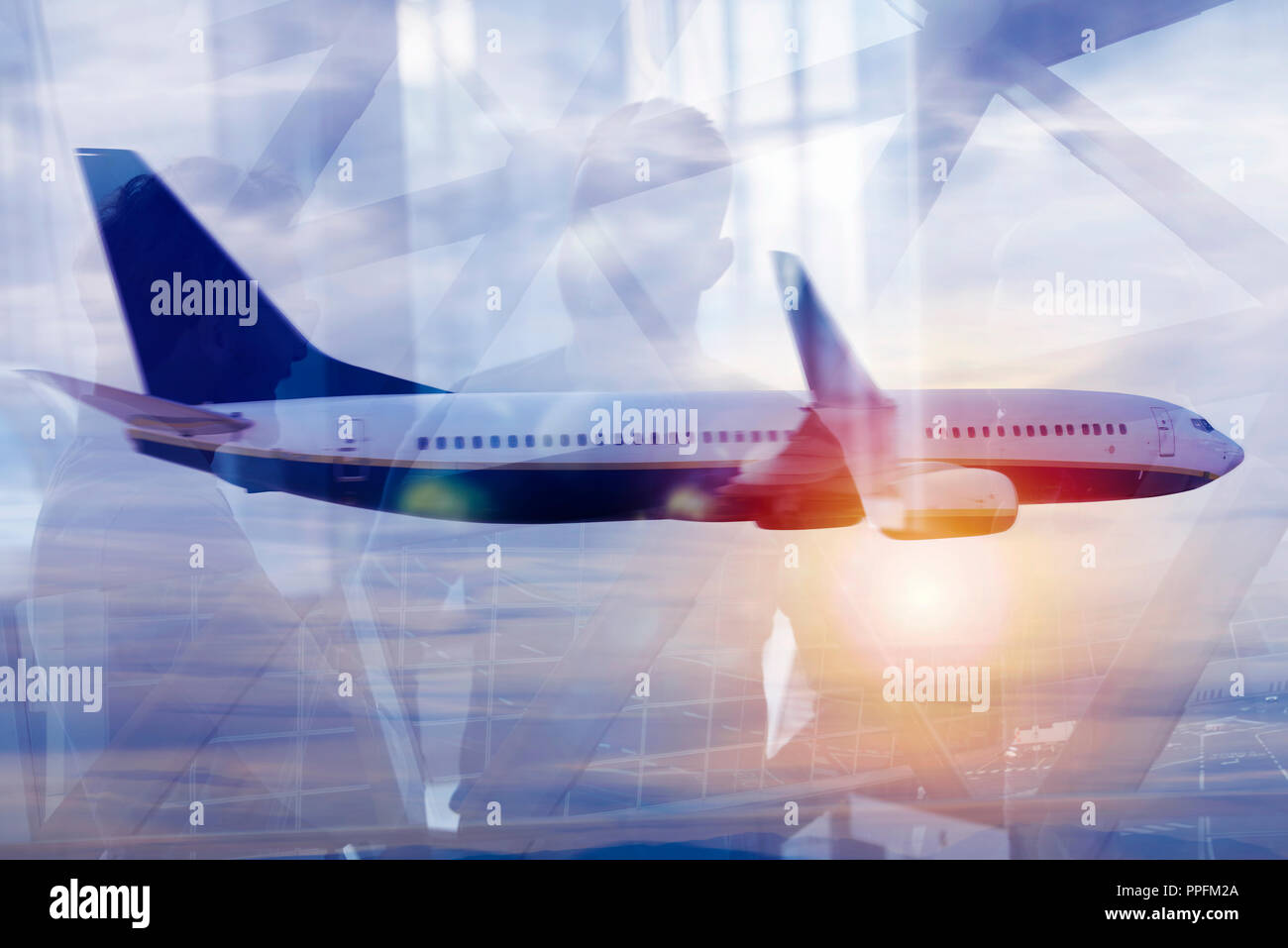 Modern airport with blur effects. double exposure - Stock Image