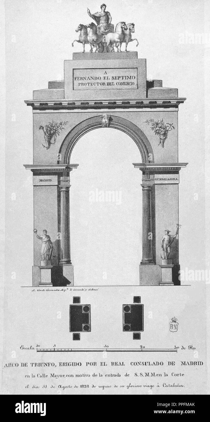Arco De Triunfo Erigido Por El Real Consulado De Madrid En La Calle