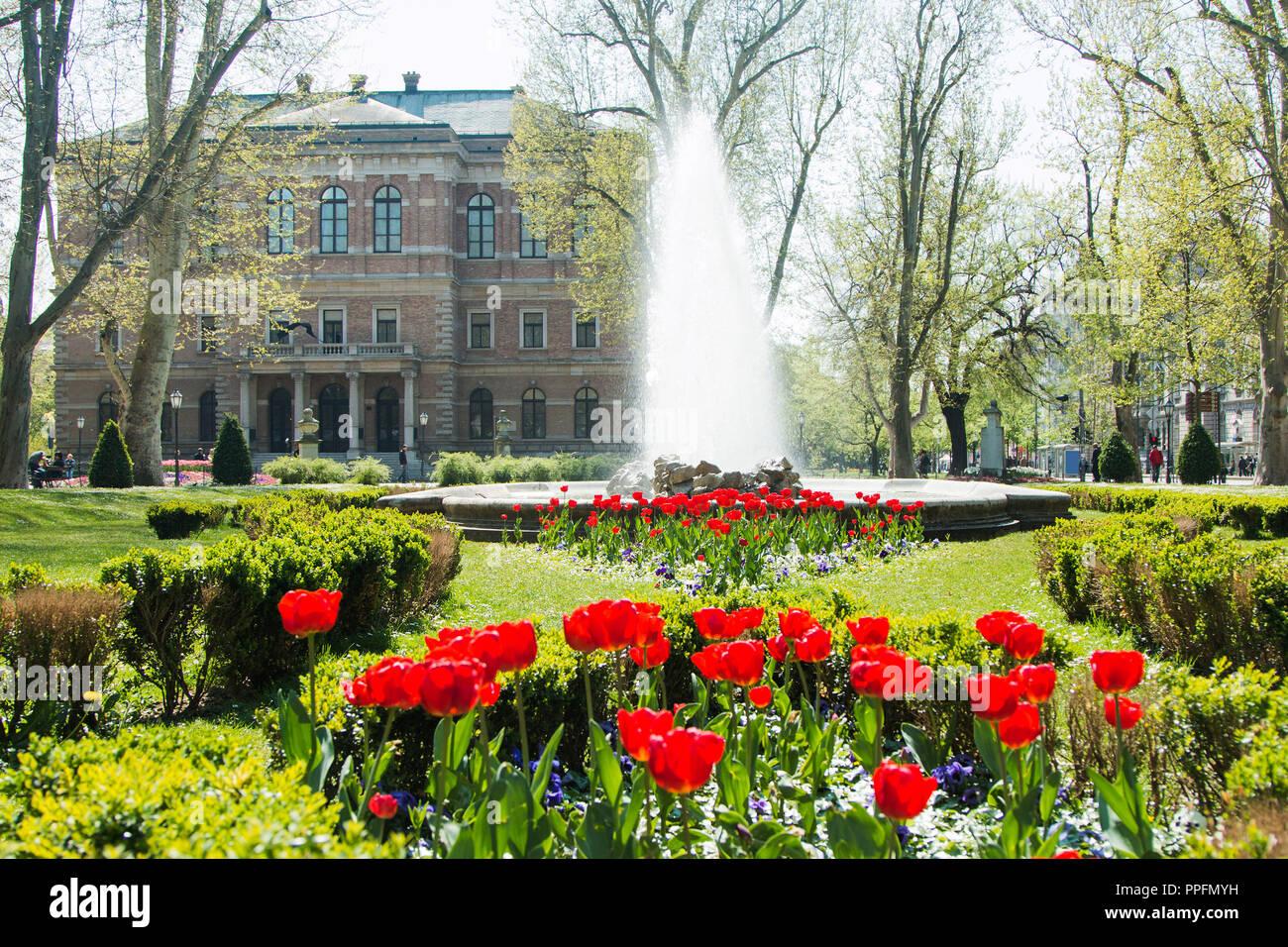 Tulips And Music Pavilion In Zrinjevac Park In Zagreb Croatia Stock Photo Alamy
