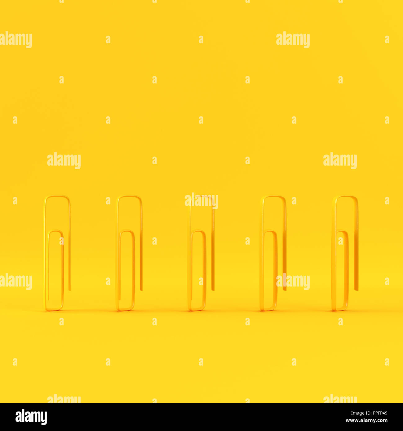 Paper clips on yellow background with copy space. Minimalism concept. 3d render - Stock Image