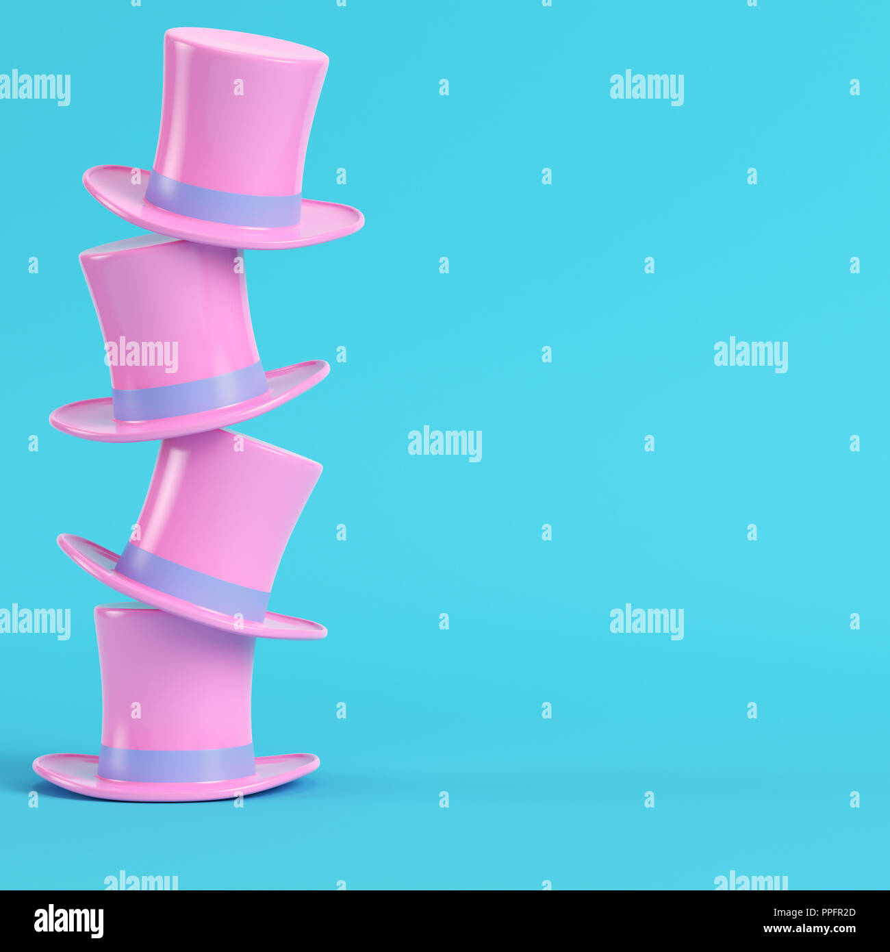 Pink top hats on bright blue background in pastel colors. Minimalism concept. 3d render - Stock Image