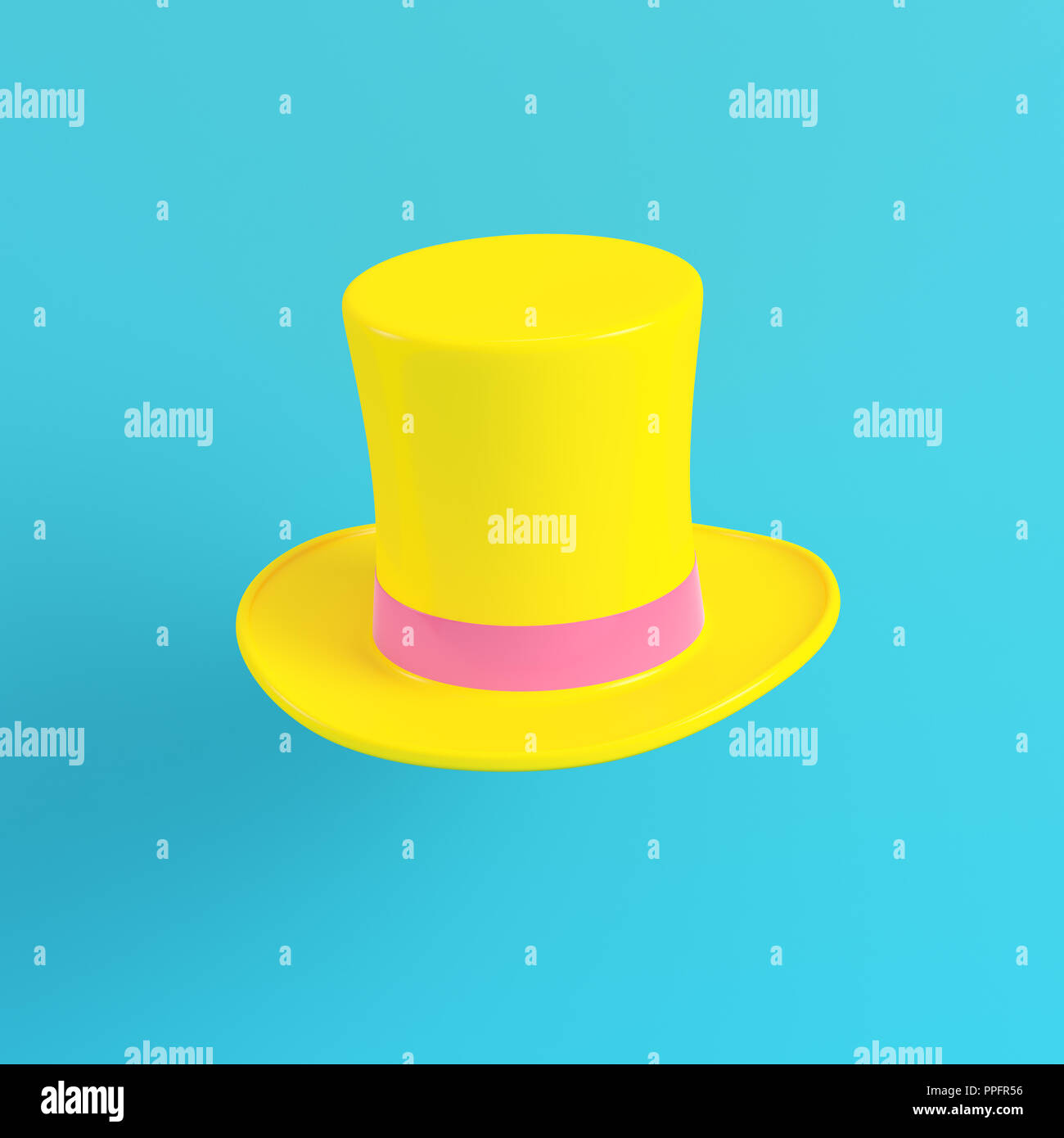 Yellow top hats on bright blue background in pastel colors. Minimalism concept. 3d render - Stock Image