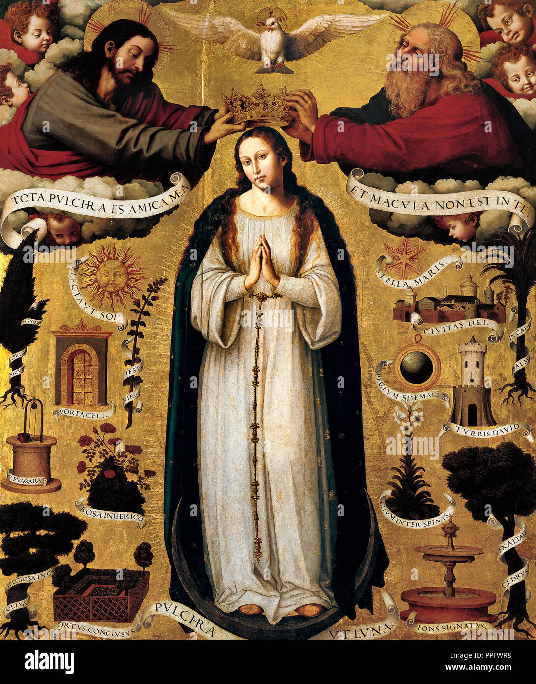 Juan de Juanes, The Immaculate Conception. Circa 1535-1540. Oil on panel. Fundacion Banco Santander, Madrid, Spain. - Stock Image