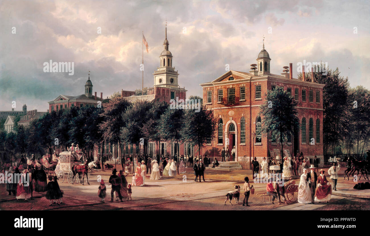 Ferdinand Richardt, Independence Hall in Philadelphia. Circa 1858-1863. Oil on canvas. White House, Washington, D.C., USA. - Stock Image