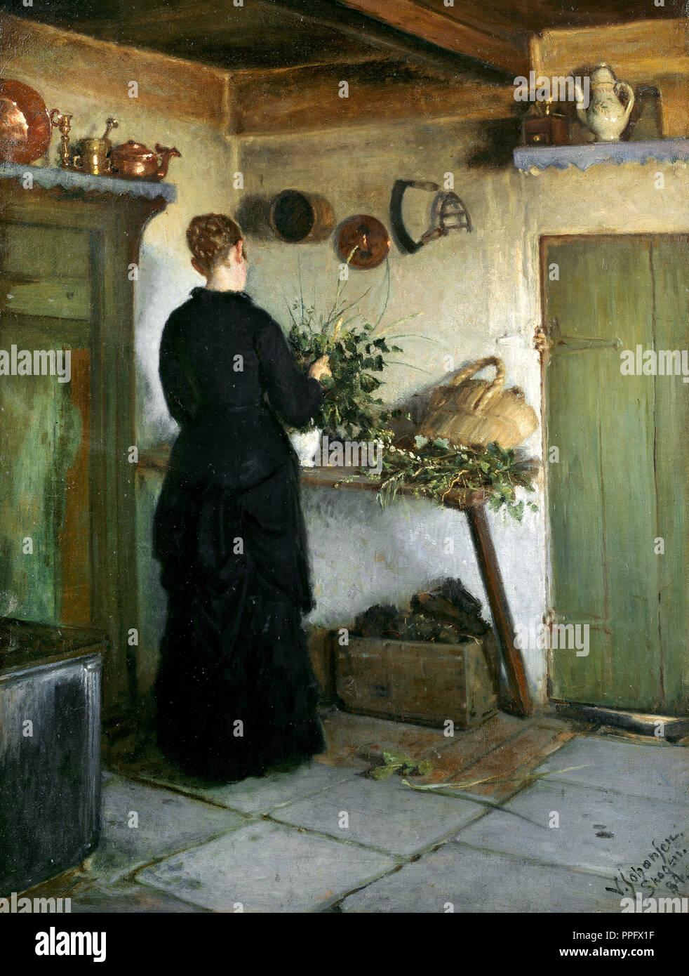 Viggo Johansen - Kitchen Interior. The Artist's Wife Arranging Flowers. 1884 Oil on canvas. Skagens Museum, Skagen, Denmark. - Stock Image