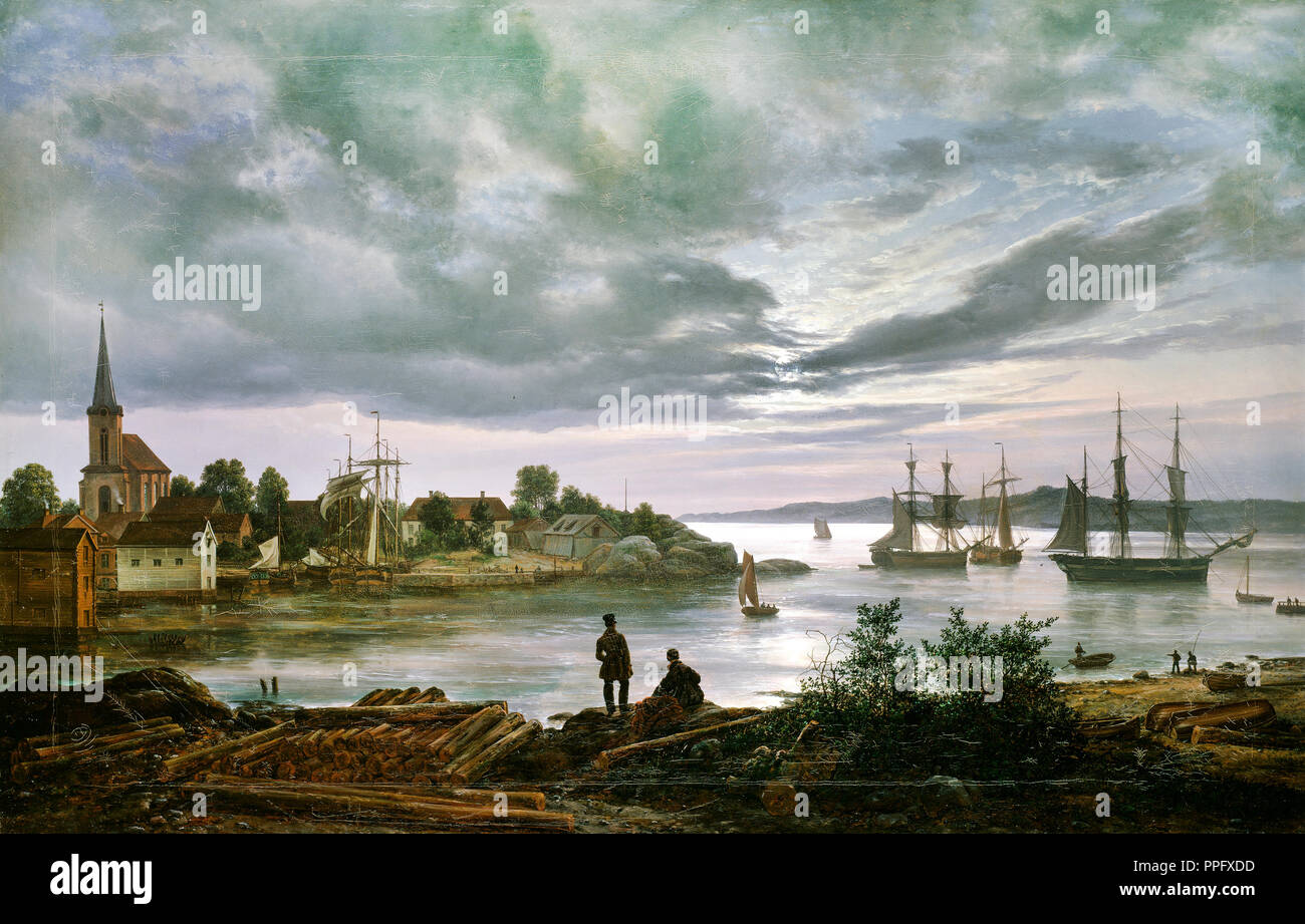 Johan Christian Dahl - Larvik by Moonlight 1839 Oil on canvas. National Gallery of Norway, Oslo, Norway. - Stock Image