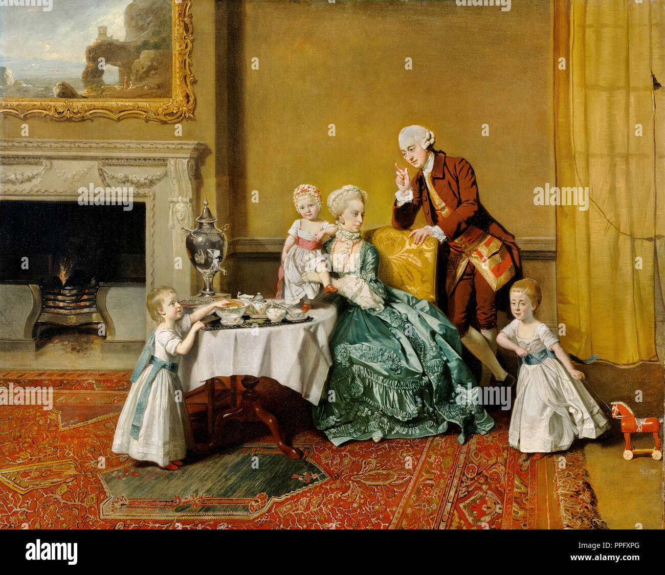 Johann Zoffany - John, Fourteenth Lord Willoughby de Broke, and his Family. Circa 1766. Oil on canvas. The J. Paul Getty Museum, Los Angeles, USA. - Stock Image
