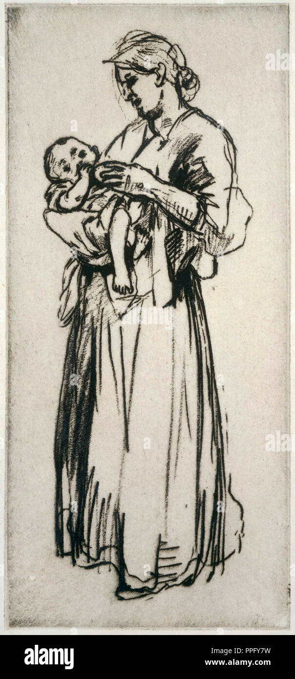 Jerome Myers, Mother and Child. Undated. Etching on paper. Phillips Collection, Washington, D.C., USA. - Stock Image