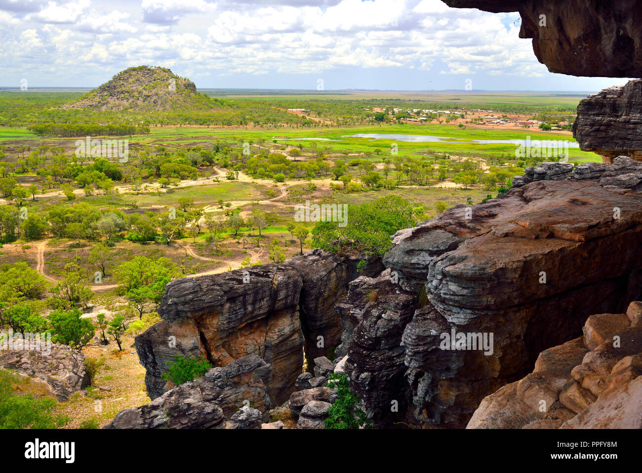 View from Anjalak Hill over the huge landscape and wetlands  of Arnhem Land, Northern Territory, Australia Stock Photo