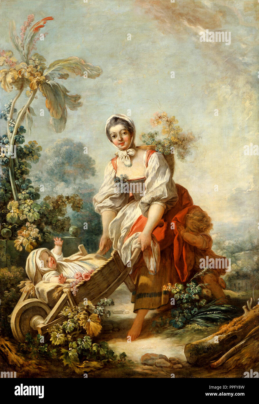 Jean-Honore Fragonard, The Joys of Motherhood. Circa 1752. Oil on canvas. Indianapolis Museum of Art, USA.s - Stock Image