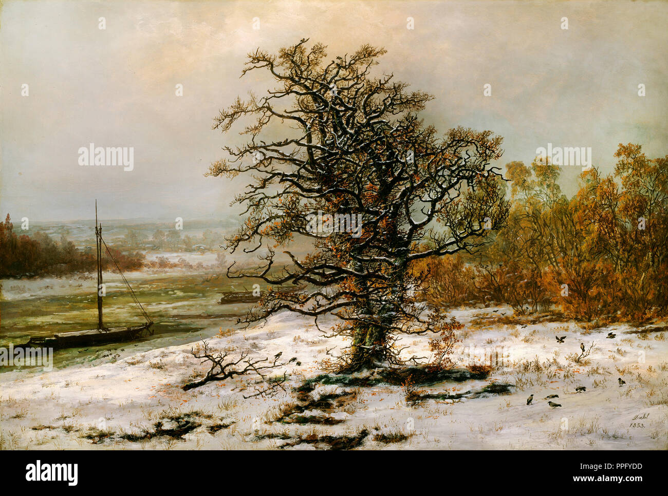Johan Christian Dahl - Oak Tree by the Elbe in Winter 1853 Oil on canvas. National Gallery of Norway, Oslo, Norway. - Stock Image