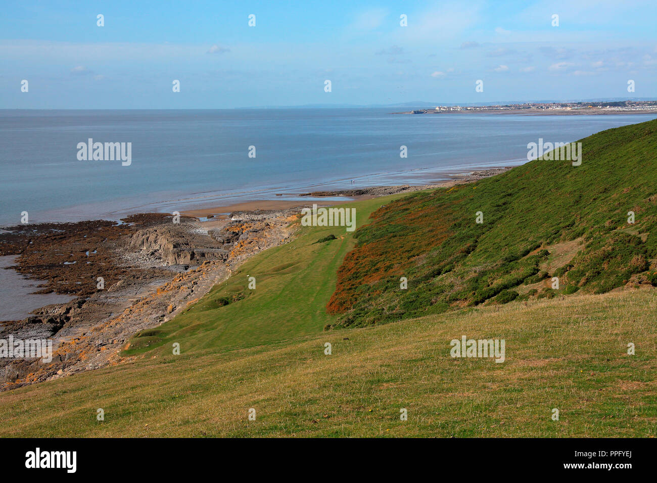 A view from the clifftop looking down onto the rocky promontary and sandy beaches of Ogmore by sea with a low tide exposing the sands. Stock Photo