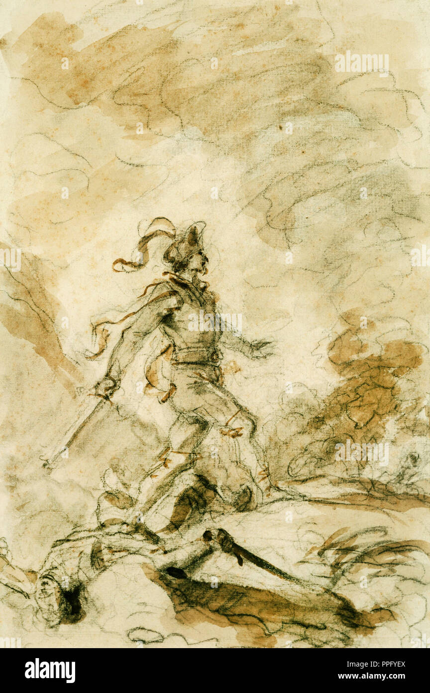 Jean-Honore Fragonard, Odorico Kills Corebo and Sets Out in Pursuit of Isabella. Undated. Charcoal, brown ink washes. Phillips Collection, Washington, - Stock Image