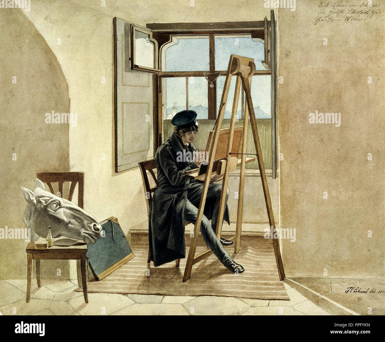 Johann Christoph Erhard - The Painter Johann Adam Klein at the easel in his studio in the Palais Chotek in Vienna. 1818 Watercolors over pencil on pap - Stock Image