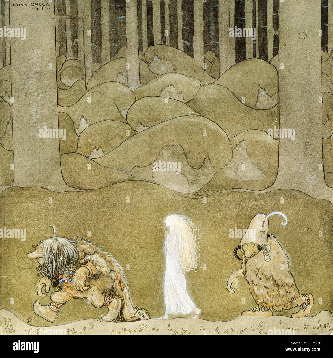 John Bauer - The Princess and the Trolls 1913 Watercolor. Nationalmuseum, Stockholm, Sweden. - Stock Image