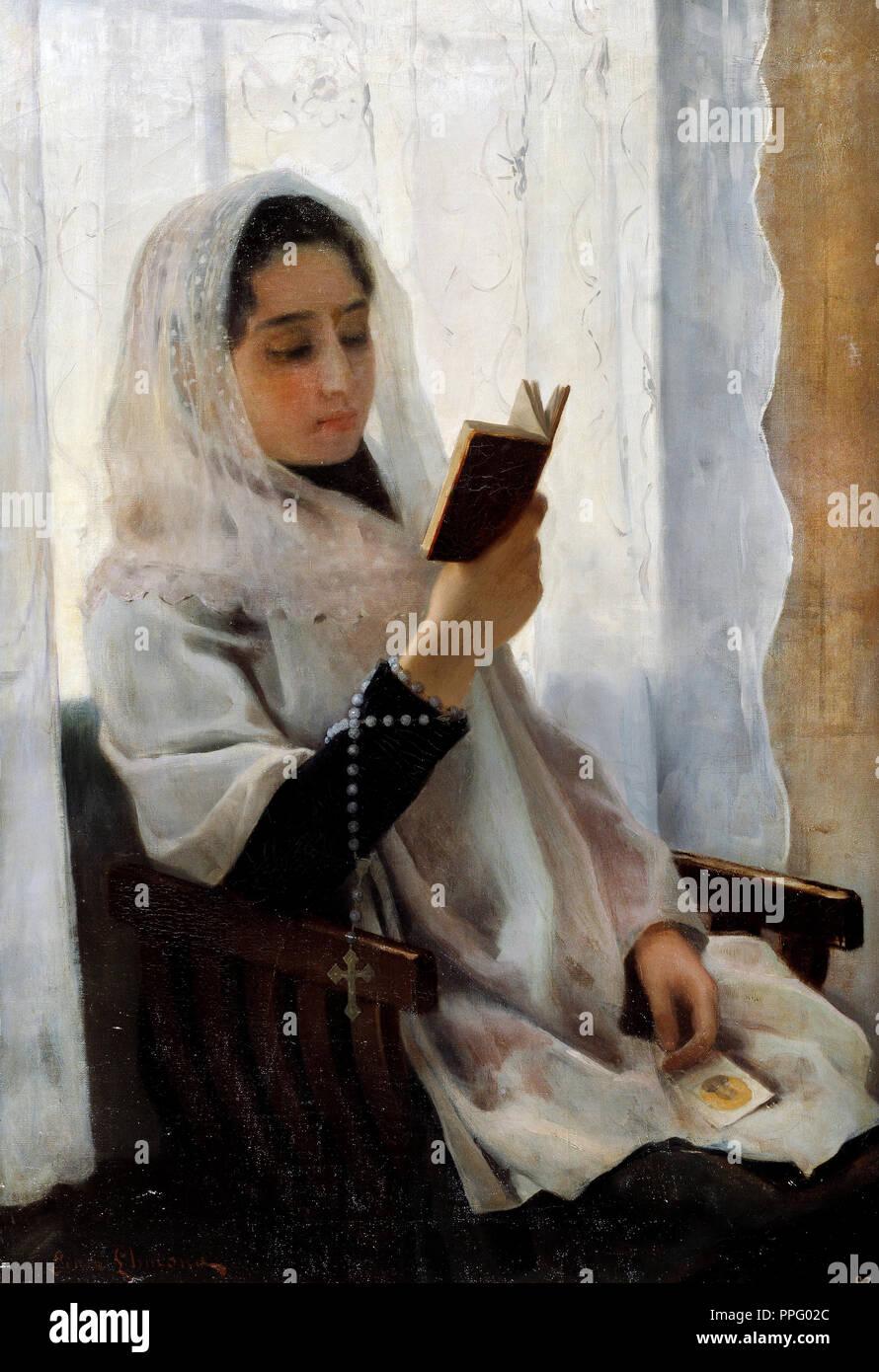 Joan Llimona - Reading 1891 Oil on canvas. Museu Nacional d'Art de Catalunya, Barcelona, Spain. - Stock Image