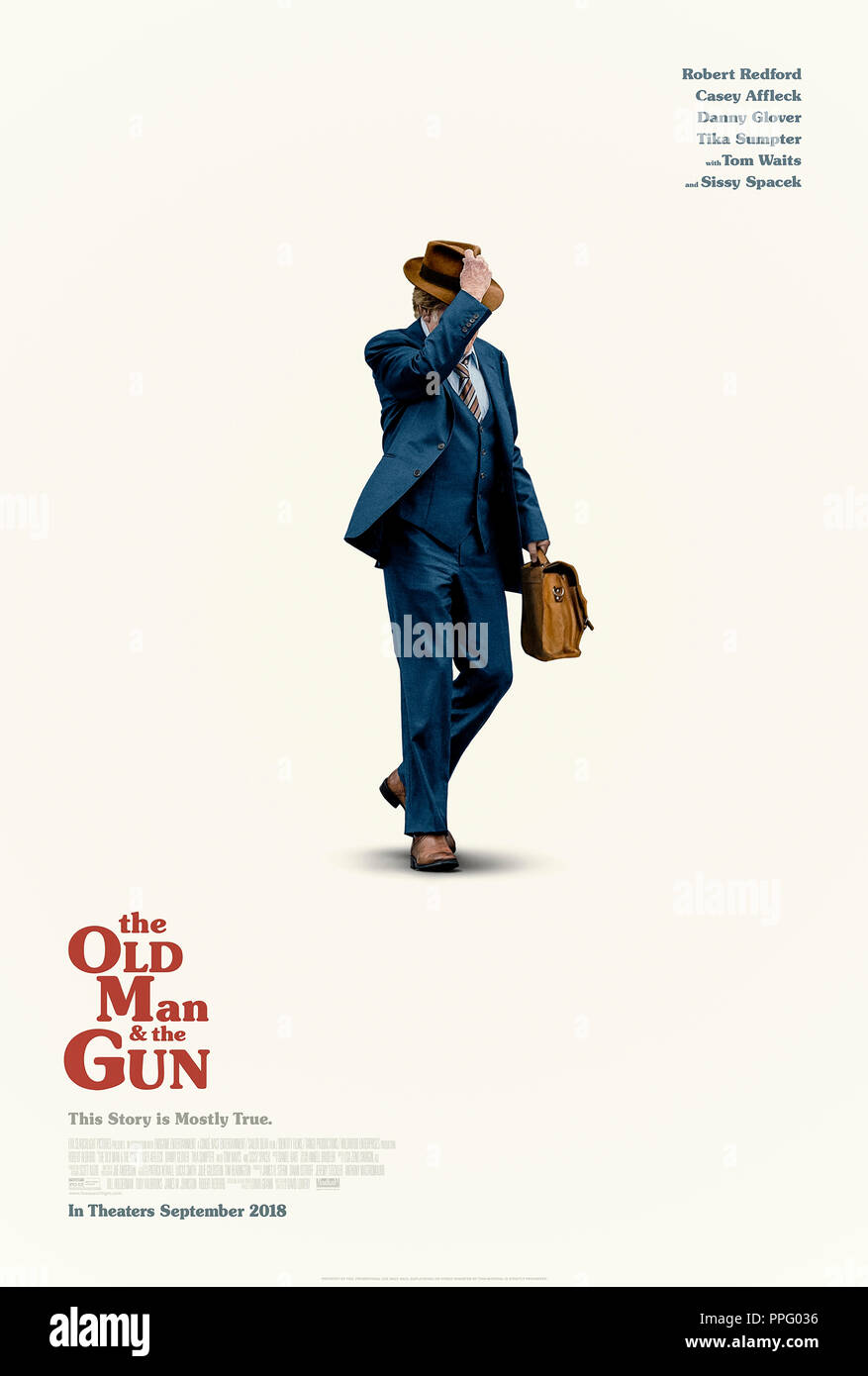 The Old Man & the Gun (2018) directed by David Lowery and starring Robert Redford, Casey Affleck, Sissy Spacek and Danny Glover. Based on the true story of Forrest Silva 'Woody' Tucker escape from San Quentin State Prison. - Stock Image