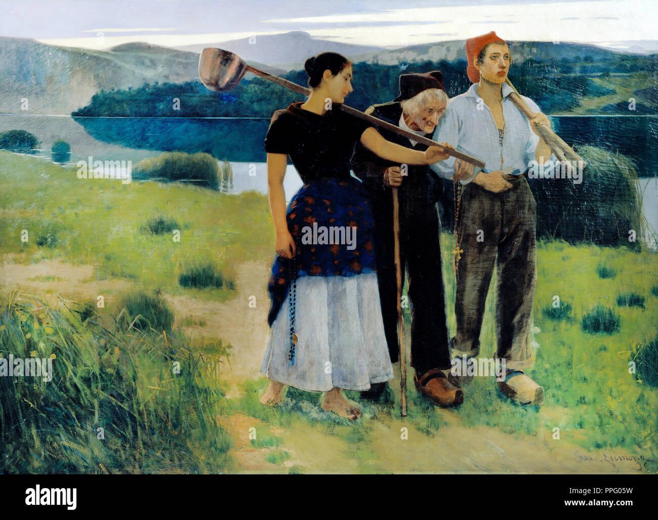 Joan Llimona, Returning from the Plot 1896 Oil on canvas. Museu Nacional d'Art de Catalunya, Barcelona, Spain. - Stock Image