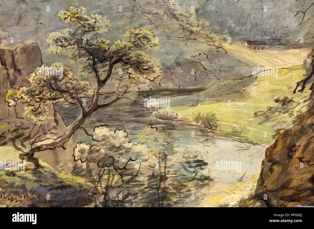 Johann Georg von Dillis - River Landscape. Circa 1820. Watercolor and gouache over graphite. The J. Paul Getty Museum, Los Angeles, USA. - Stock Image