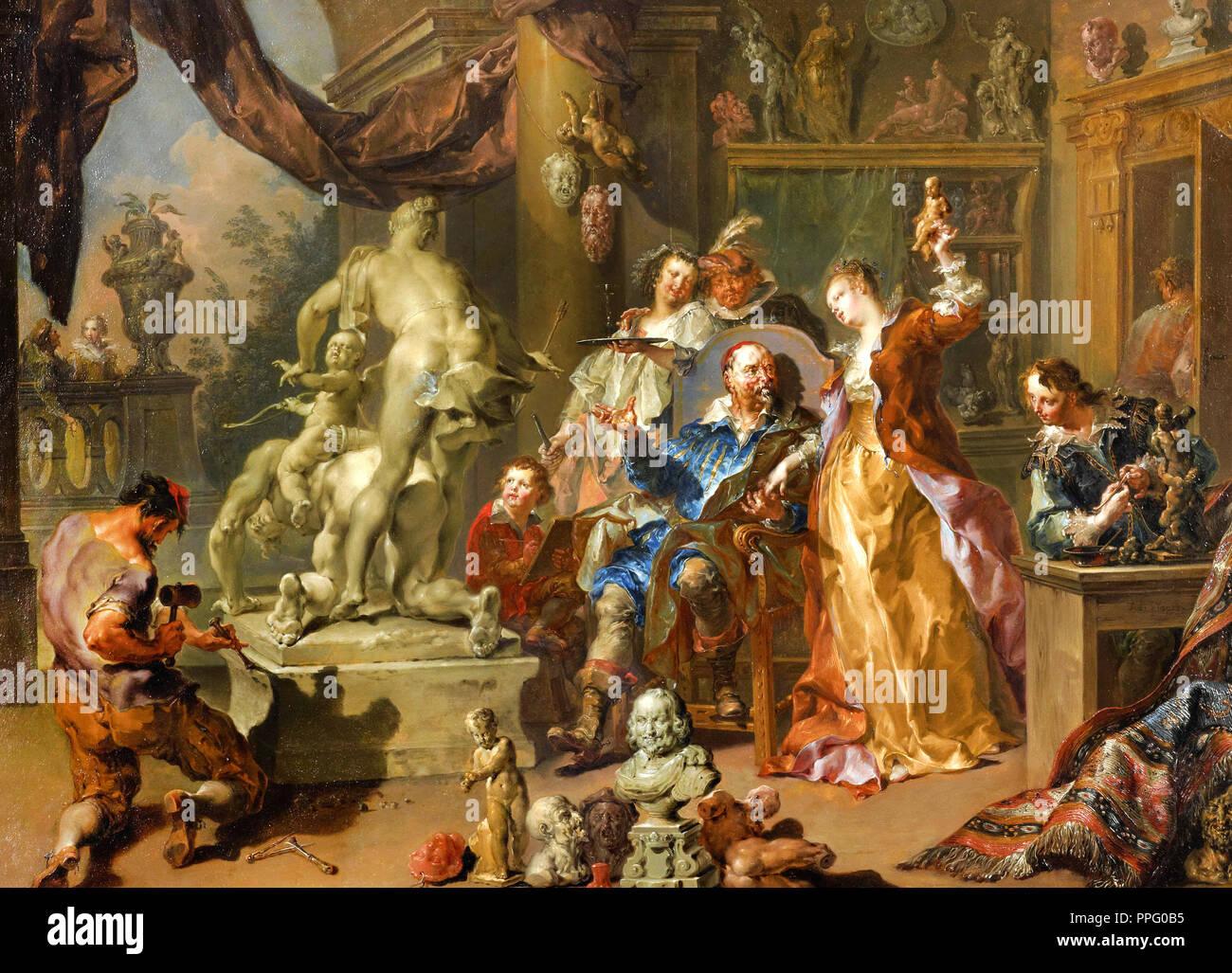 Johann Platzer - The Sculptor's Studio. 1730 Oil on copper. Art Gallery of New South Wales, Australia. - Stock Image