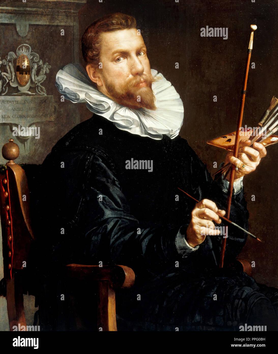 Joachim Wtewael, Self-Portrait 1601 Oil on canvas. Centraal Museum in Utrecht, Netherlands. - Stock Image