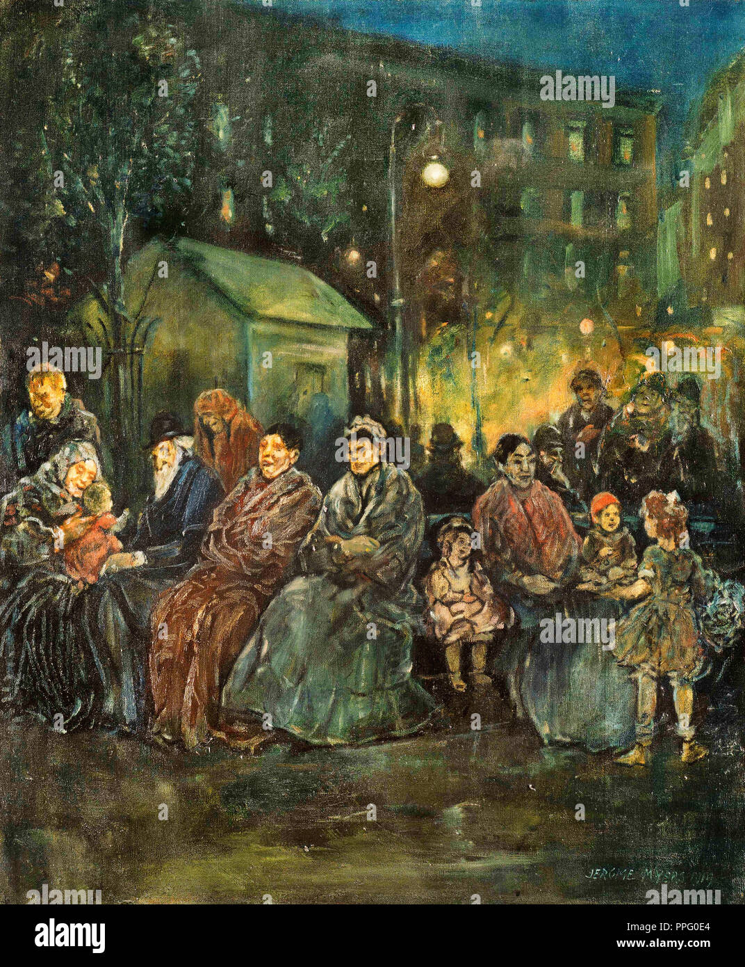 Jerome Myers, Night in Seward Park 1919 Oil on canvas. Phillips Collection, Washington, D.C., USA. - Stock Image