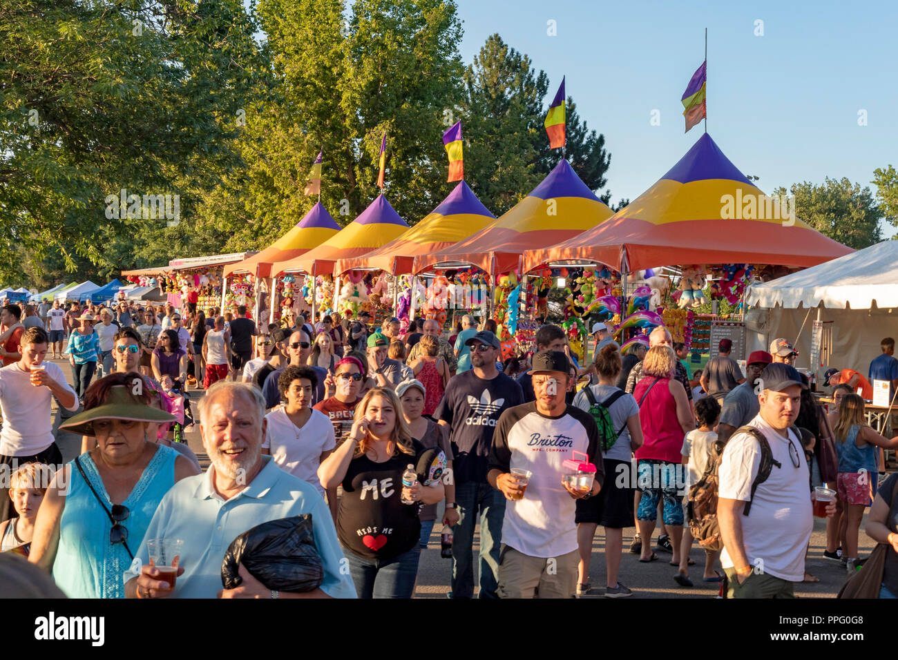 Wheat Ridge, Colorado - The annual Carnation Festival. The festival features food and entertainment. It was named for the flowers that were widely cul - Stock Image