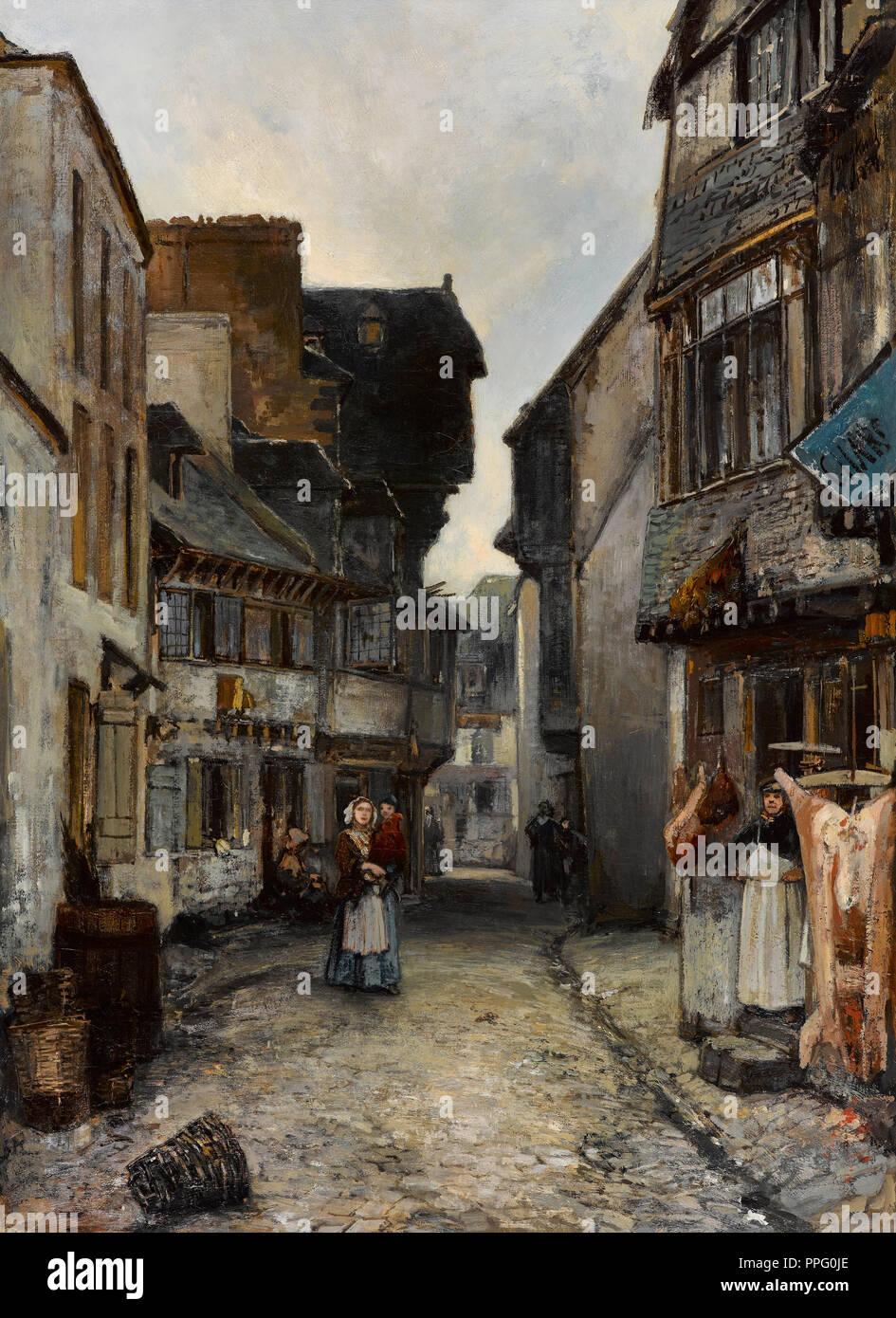 Johan Jongkind - A Street in Landerneau 1851 Oil on canvas. Gemeentemuseum Den Haag, The Hague, Netherlands. - Stock Image