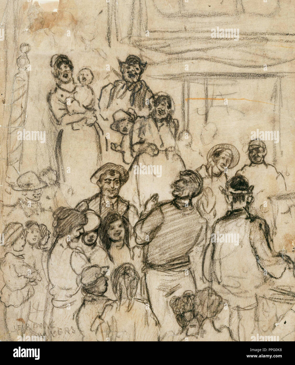 Jerome Myers, Street Singer. Charcoal on paper. Phillips Collection, Washington, D.C., USA. - Stock Image