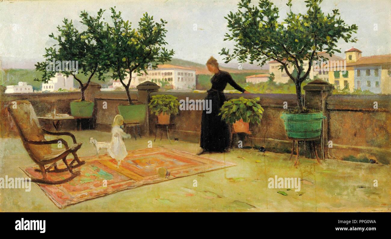 Joaquim Vayreda i Vila - Terrace. Circa 1891. Oil on canvas. Museu Nacional d'Art de Catalunya, Barcelona, Spain. - Stock Image